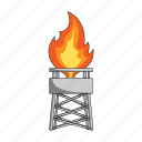 extraction, flame, gas, oil, tower icon
