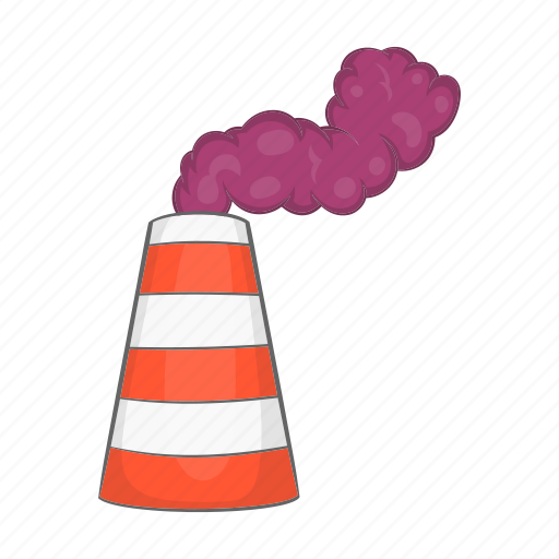 cartoon, factory, fuel, industry, pipe, sign, smoke icon