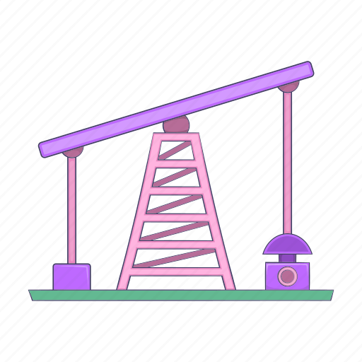 business, cartoon, fuel, industry, oil, rig, sign icon