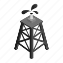derrick, fuel, isometric, natural, oil, rig, tower icon