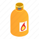 bottle, flame, fuel, gas, isometric, orange, tank icon