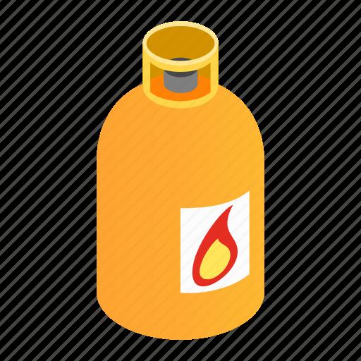 bottle, flame, fuel, gas, isometric, orange, tank icon