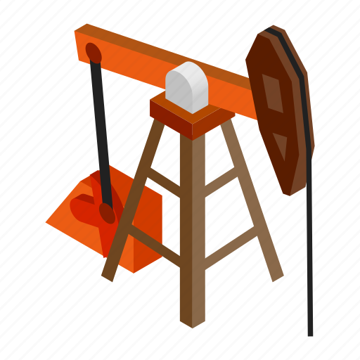 fuel, isometric, jack, oil, pipe, power, pump icon