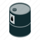 barrel, drum, isometric, metal, oil, petrol, tank