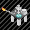 derrick, gas, isometric, oil, platform, rig, sea