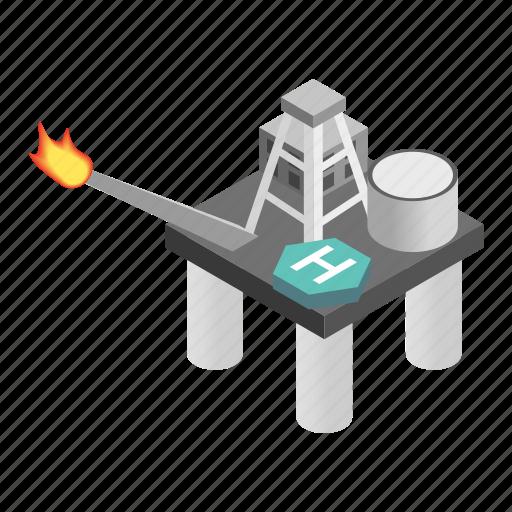 derrick, gas, isometric, oil, platform, rig, sea icon