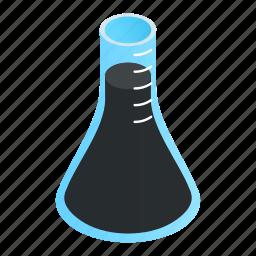 chemistry, isometric, lab, medical, oil, test, tube icon