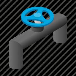 gas, illustration, isometric, oil, pipeline, stopcock, valve icon