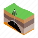 extraction, gas, industry, isometric, oil, scheme, technology icon