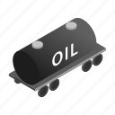 carry, isometric, liquid, oil, tank, train, wagon icon