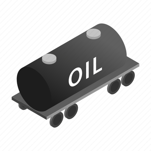 carry, isometric, liquid, oil, tank, train, wagon icon