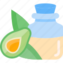 avocado, bottle, fruit, oils icon