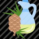 bottle, drink, fir, oils icon