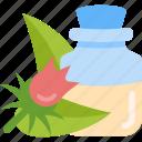 bottle, flower, oils, sheet icon
