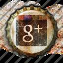 google, plus, social media, grunge, vintage, crown, crowns, retro, add, worn, bottle, social, old, bottle crown, bottle cap, cap, network