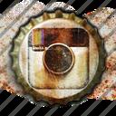 instagram, social media, old, vintage, photography, social, crown, worn, camera, bottle crowns, bottle, media, photo, grunge, bottle cap, cap