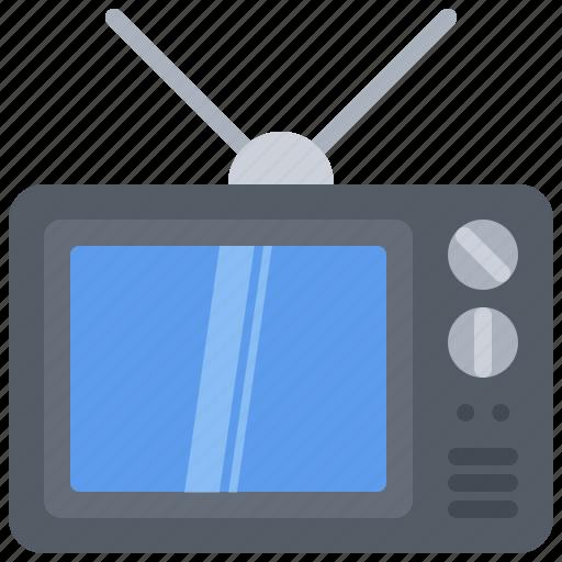 antenna, appliance, device, electronics, retro, television, tv icon