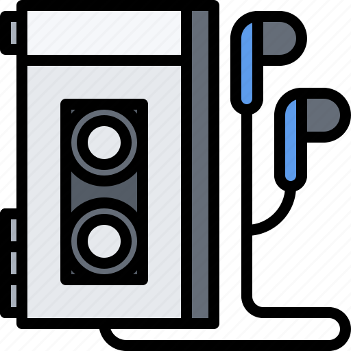 Appliance, cassette, device, electronics, headphones, player, retro icon - Download on Iconfinder