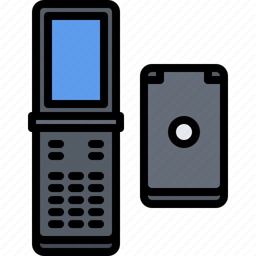 appliance, clamshell, device, electronics, phone, retro icon