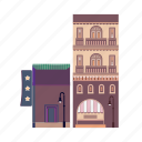 bar, city, hotel, night club, pub, restaurant, shopping icon