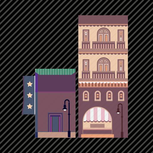 bar, city, hotel, night club, pub, restaurant, shopping icon