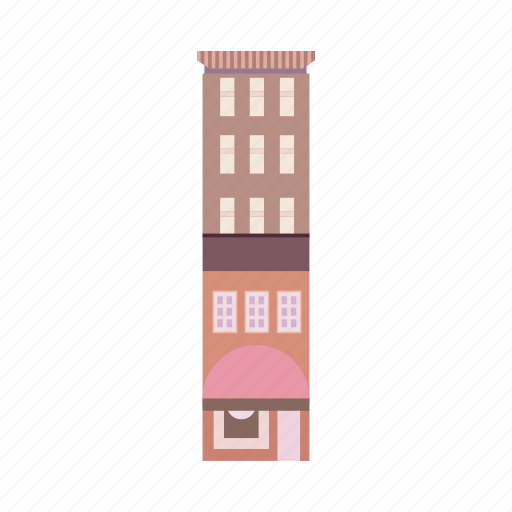 apartment, building, business, city, market, office, town icon