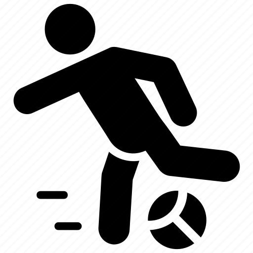 football game, football player, kick, knee hit, olympics game icon