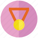 first, gold, medal, sports, win icon