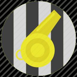 referee, sports, stripes, whistle icon