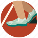 running, shoes, speed, sports, start line icon