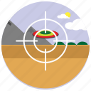 clouds, mountain, shooting, sports, sun, target icon