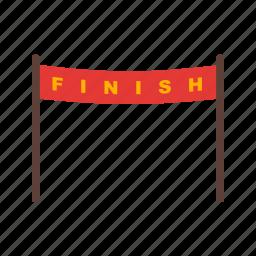 athlete, finish, line, olympic, race, running, track icon