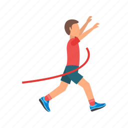 crossing, finish, line, olympic, race, runner, sport icon
