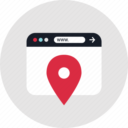 find, locate, online, web icon