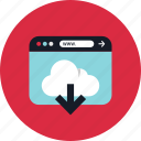 cloud, download, stream, www icon