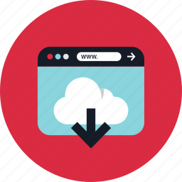 cloud, download, stream, www icon