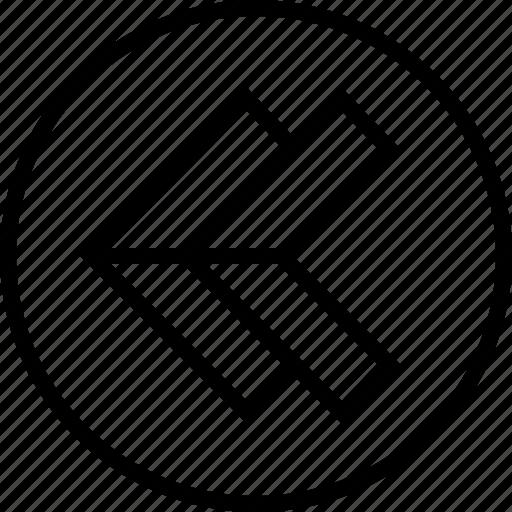 arrow, double, left, point icon