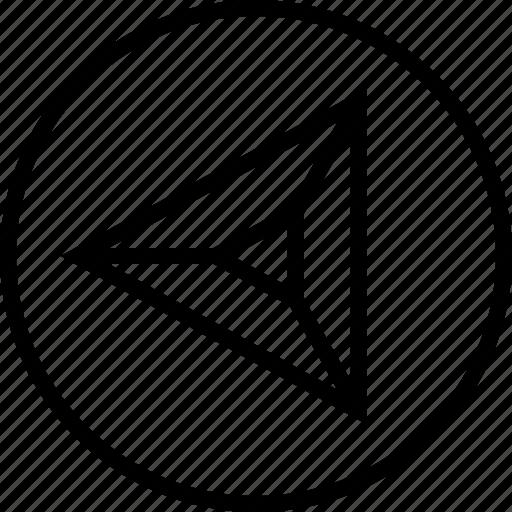 arrow, left, point, triangle icon