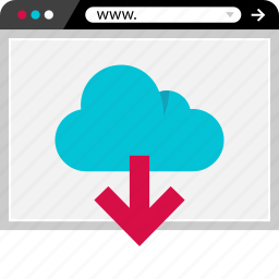 arrow, browser, cloud, data, download, online, web icon