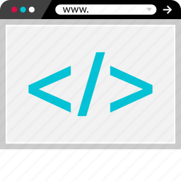 browser, code, coding, development, lines, online, web icon
