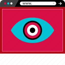 browser, eye, eyeball, find, look, online, web icon