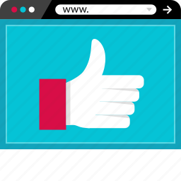 approved, browser, good, online, thumbs, up, web icon