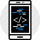 code, phone, web icon