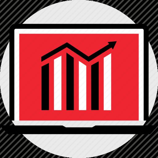 arrow, bars, business icon