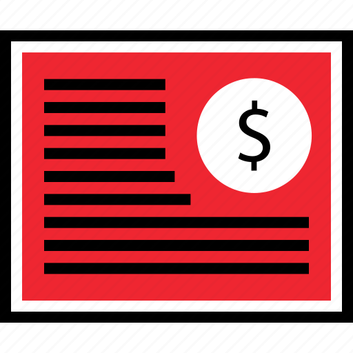 contract, dollar, page icon