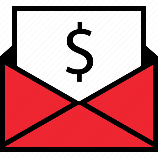 dollar, email, mail icon