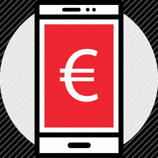cell, euro, phone icon