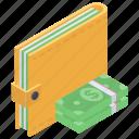 billfold, notecase, pochette, pocketbook, pouch, purse, wallet icon