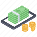 digital money, internet money, mcommerce, mobile money, online payment icon