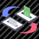 cash transfer, ebanking, mobile money transfer, online banking, online transfer icon